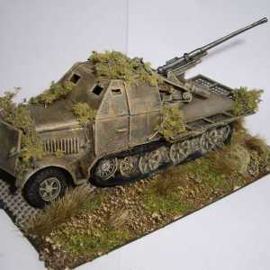 German SDKFZ Half-Track, with Armoured Cab and Rear Mounted 37mm AAGun