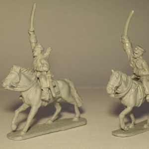 Russian Cavalry Officer and Trooper with Swords, including 2 Horses