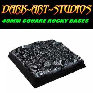 40mm Square Sculpted Rocky Base