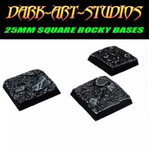 10x 25mm Square Sculpted Rocky Bases