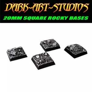 10x 20mm Square Sculpted Rocky Bases
