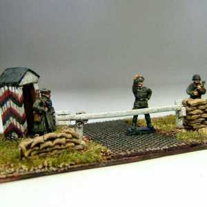 German Army Road Block with Sentry Box